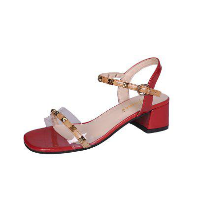 Rude Heel Middle and Riveted Female Sandals 218 (Gearbest) Round Rock Purchase b