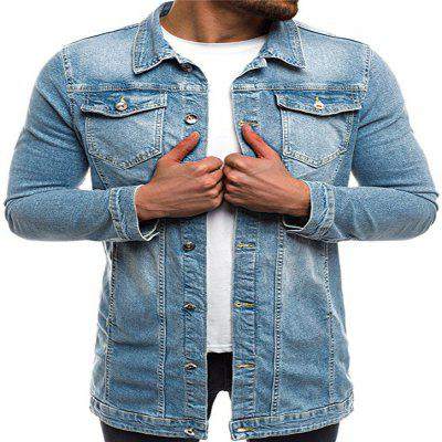 Slim Mid-Length spălat Men Denim Jacket