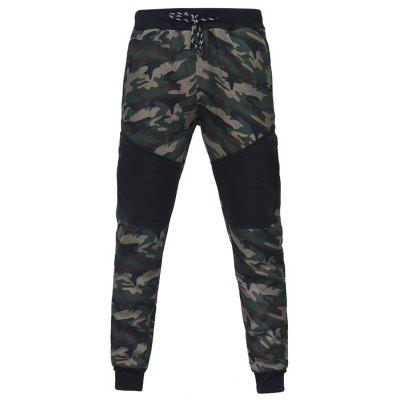 Camouflage Stitching Men Casual Slim Sports Trousers