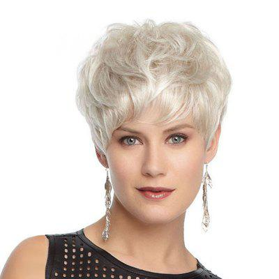Short-Haired Slightly Curled High-Temperature Silk Rose-Net Wig