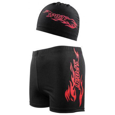 Men Trunks Sports Swimming Trunks Hat Suit