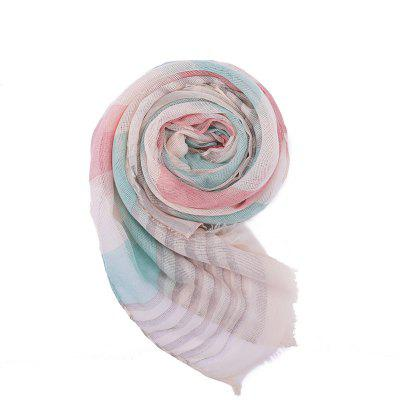 SALYBABY Fashion Thick and Thin Stripe Splicing Cotton and Linen Scarf
