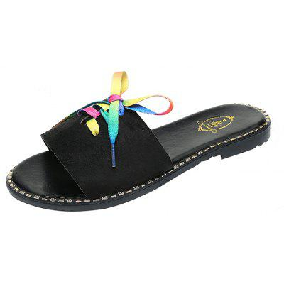 Fashion Outside Wearing Flat Bottom Colorful Ribbons Drag Beach Cool Slippers