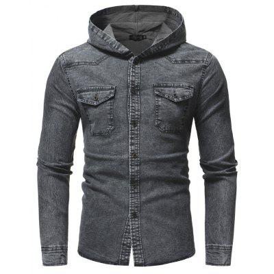 Fashion Wash Men Casual Slim Long Sleeve Hooded Denim Jacket