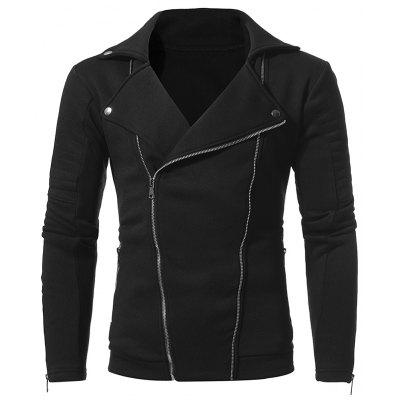 Double Pull Zipper Men Casual Slim Jacket Coat