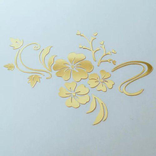 Acrylic 3d Hibiscus Flower Wall Sticker Golden Gearbest