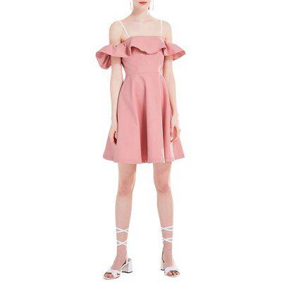 New Strap Sexy Off-Shoulder Sweet Pink Ladies Casual Dress