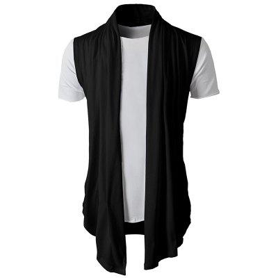 Personalized Solid Color Wild Men Casual Sleeveless Knit Cardigan