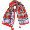 SALYBABY New Floral Printing Long Cotton and Linen Scarf Shawl - RUBY RED