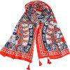 SALYBABY Fashion Cloud Totem Cotton and Linen Scarf Shawl - RUBY RED