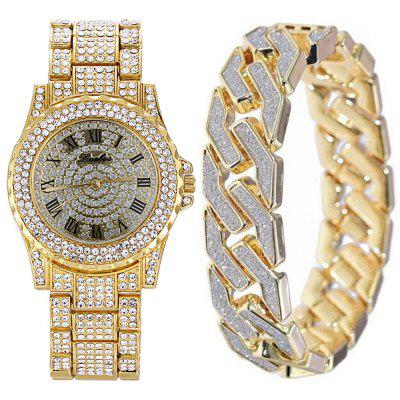 Men Crystal Bling Watch Glitter Geometric Bracelet Set