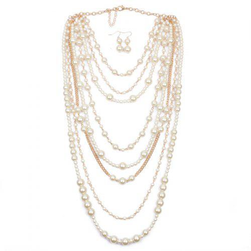 Multi Layer Pearl Necklace Earrings Set