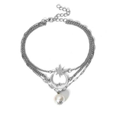Beach Element Moon Star Pearl Anklet