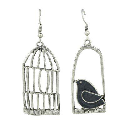 Rose Gold Silver Color With Black Blue Enamel Bird Cage Earrings
