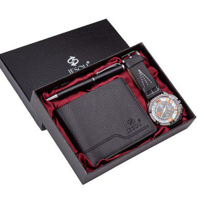 Fashion Men Watch Set With Wallet and Pen