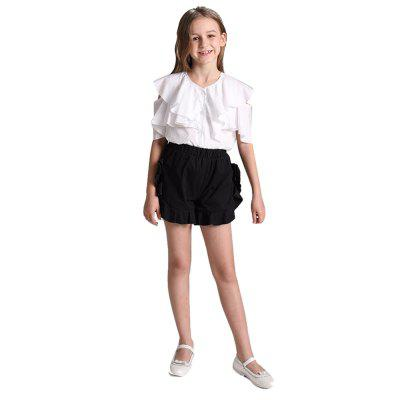 Girls Pure Cotton White Flounce Jacket + Pure Cotton Shorts Two-Piece Set