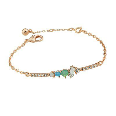 Gold-Color With Rhinestone Blue Beads Charm Bracelet