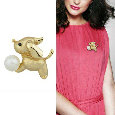 Gold-Color With Rhinestone Simulated-pearl Dog Brooch