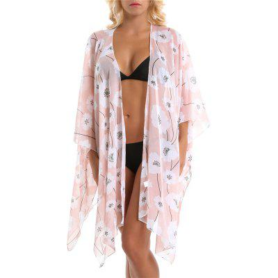 SALYBABY Floral Pattern Sun Protection Chiffon Swimwear Cover Up