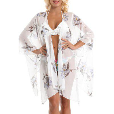 SALYBABY Pastoral Style Orchid Pattern Chiffon Cover Up