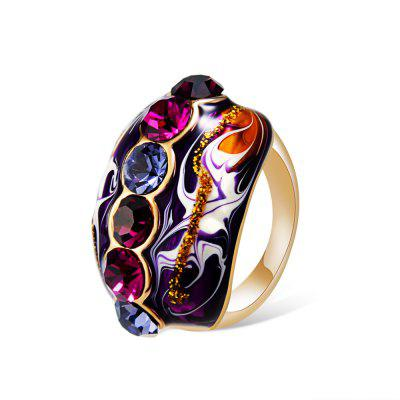 Rose Gold-Plated Enamel with Colored Crystal Ring