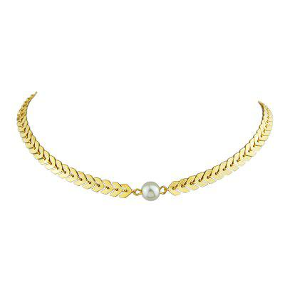 Silver Gold-Color Chain with Simulated-pearl Necklace