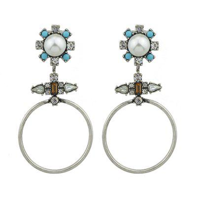 Silver Color With Simulate-pearl Beads Flower Drop Earrings