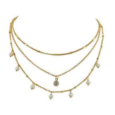 Silver Gold-Color Chain with Simulated-pearl Chain Necklace