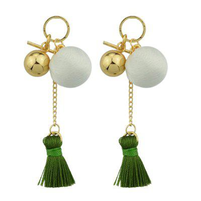 Gold-Color With Beads Colorful Tassel Dangle Earring