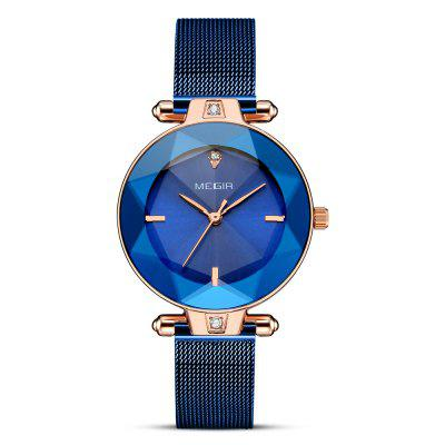 MEGIR 4209L Modern Fashion Cut Mirror Citizen Movement Quartz Women Watch