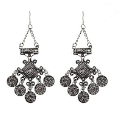Antique Silver Color Round Charm Drop Earrings