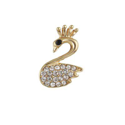 Gold-Color with Rhinestone Owl Swan Cherry Brooch