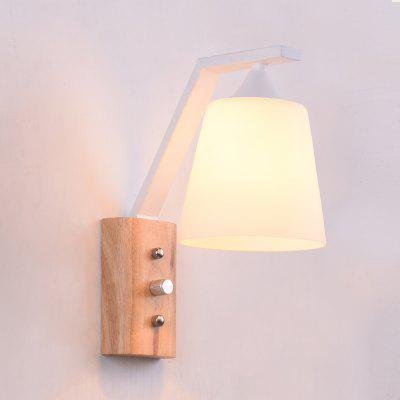 Modern Led Wood Wall Lamp Glass Shade Lighting for Living Room Bedroom Aisle