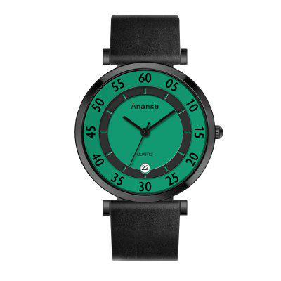 Ananke Men's Leather Waterproof Simple Youth Fashion Watch