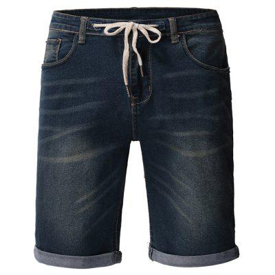 Washed Solid Color Casual Denim Shorts