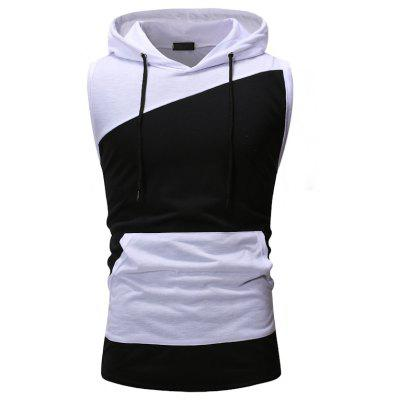 Personalized Color Matching Men Casual Slim Hooded Sleeveless T-Shirt
