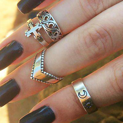 Antique Silver Color Sun Moon Cross Ring 4 pezzi / set