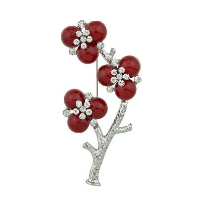 Silver Color with Red Beads Flower Brooch