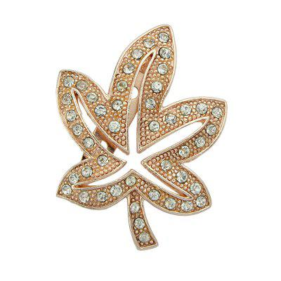 Silver Rosegold Color with Rhinestone Leaf Brooch