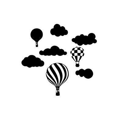 Cloud Hot-Air Balloon Wall Stickers Removable Decorative Stickers