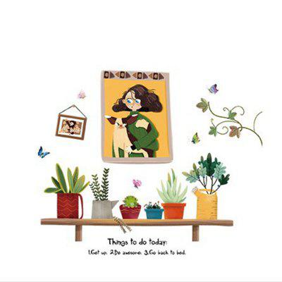 Cute Girl Puppy Cactus Potted Wall Sticker Living Room Background Wall Decoration