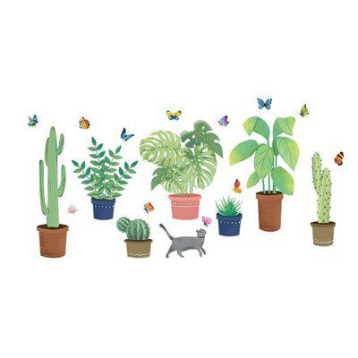 Green Cactus Potted Wall Sticker Bedroom Background Wall Decoration Sticker