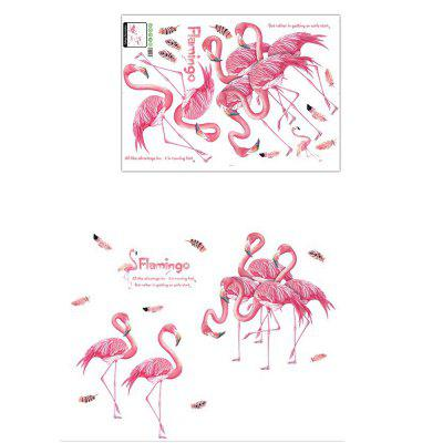 Pink Flamingo Wall Sticker for Living Room Bedroom Wall Decoration