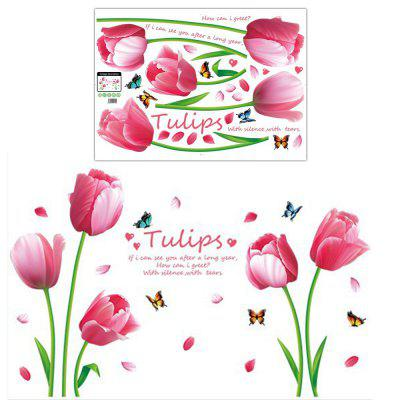 Pink Tulip Flowers Fluture Wall Sticker Removable Decoration