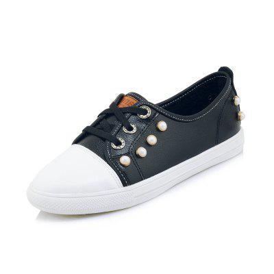 Pearl Contrast Color Stitching Flat Shoes with Casual Shoes