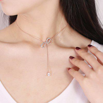 Fashionable Rose Gold Zircon Bow Necklace