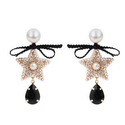 Fashion Temperament Bow Five-Pointed Star Drop Diamond Earrings