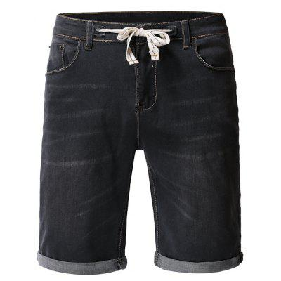 Simple Washed Fashion Denim Fashion Solid Color Shorts Male