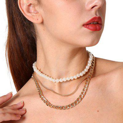 Silver Gold-Color Chain with Simulated-pearl Necklaces