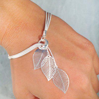 Gold Silver Color Chain With Leaf Charm Bracelets